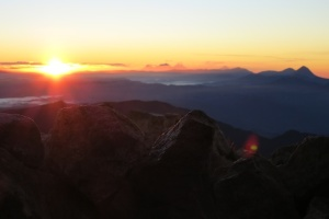 "The view from top of Tajumulco at Sunrise. The other ""mountains"" are also Volcanos."